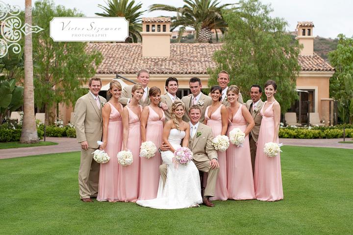 розовые платья подружек невесты
