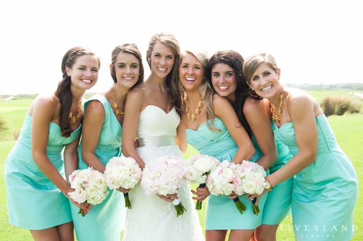 подружки невесты в бирюзовом