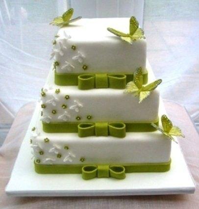 Торт свадебный бело зеленый