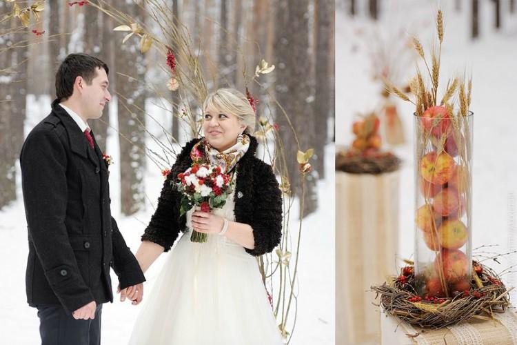 Сочетание европейского и русского стиля на зимней свадьбе Анны и Павла