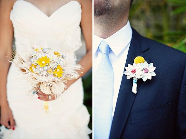 Бутоньерка и букет: идеальная пара