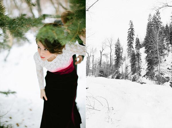 Сказочная зимняя свадьба: розы, снег и красный бархат