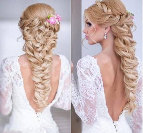 Коса из локонов на свадьбу