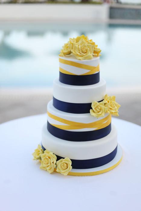 Торт для сине желтой свадьбы