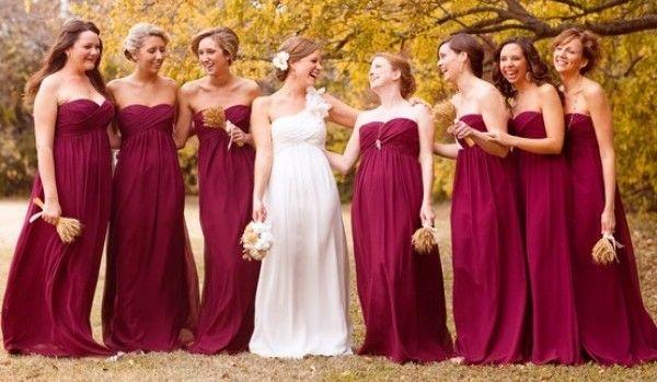 Бордовая свадьба: образы невесты, жениха, подружек невесты и бояр