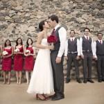 Бордовая свадьба: образы невесты и жениха, подружек не�...