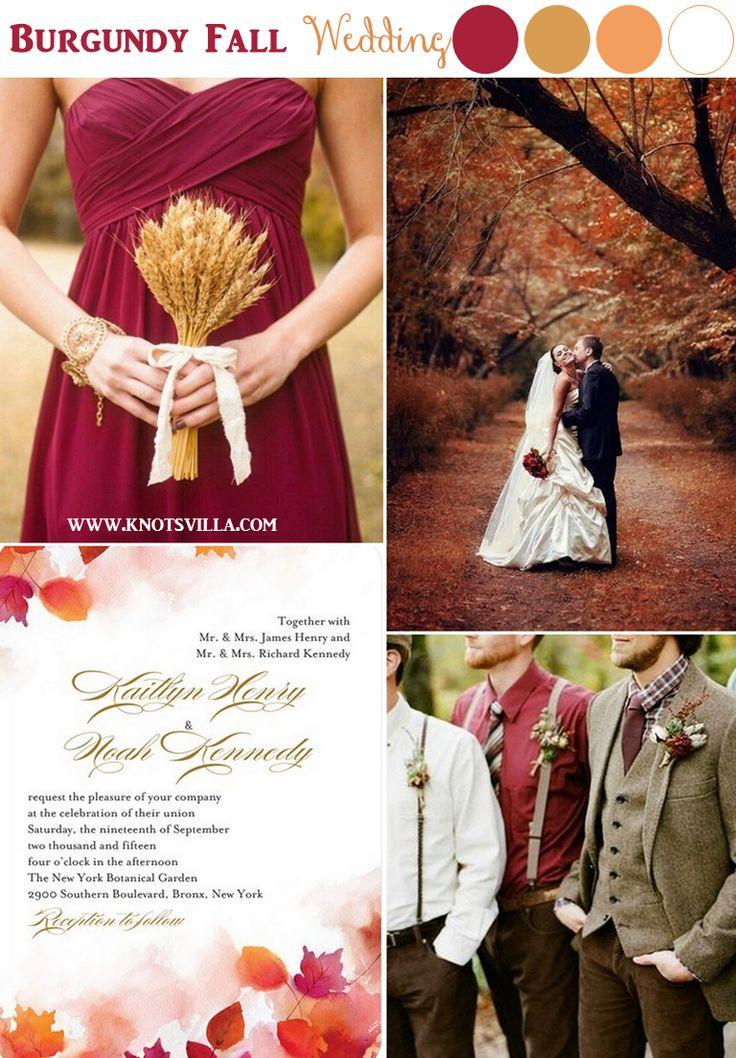 Свадебные палитры с бордовым цветом
