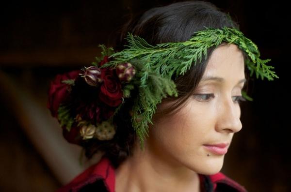 зимний венок из цветов для невесты