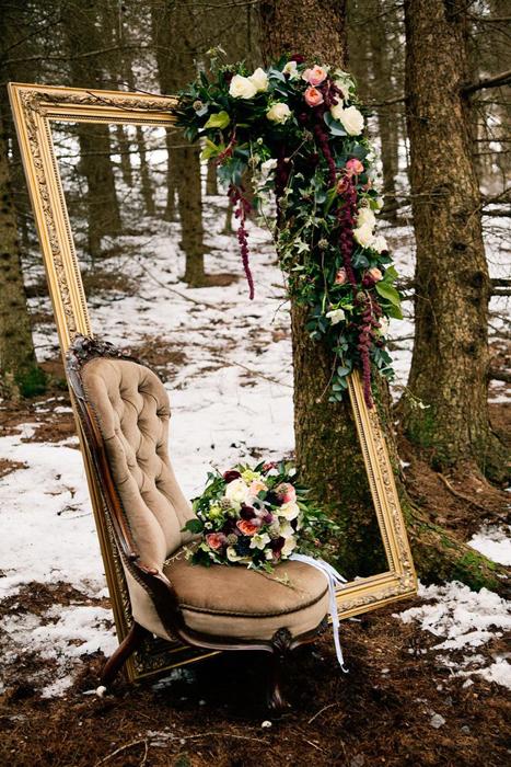 Зимняя фотозона для свадьбы