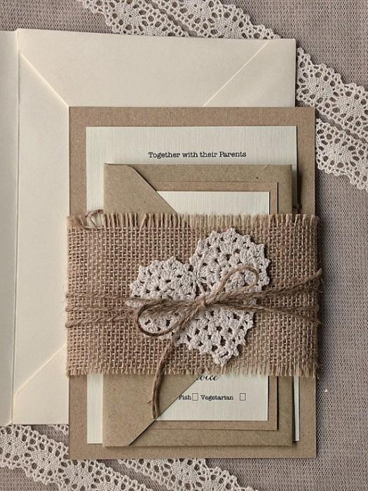 Мешковина и кружево в оформлении свадьбы в стиле рустик